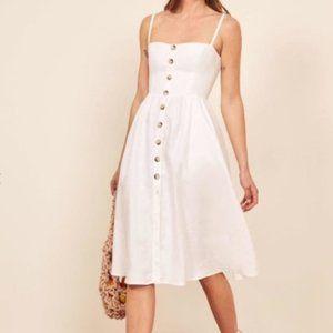 Reformation White Tori Linen Midi Dress Size 22